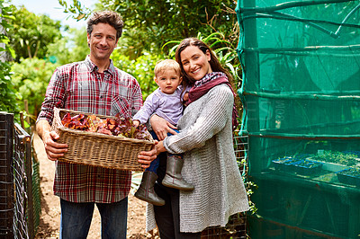 Buy stock photo Portrait of a couple with their baby girl standing in their organic garden