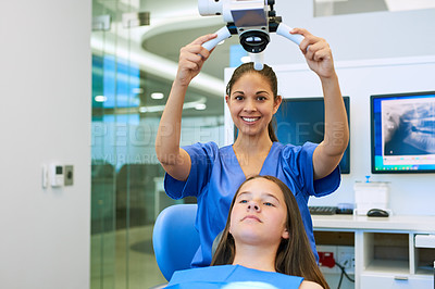 Buy stock photo Cropped shot of a young girl getting a checkup at the dentist