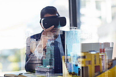 Buy stock photo Multiple exposure shot of a businessman wearing a VR headset while working in his office