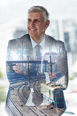 Buy stock photo Multiple exposure shot of a mature businessman superimposed over a railway line