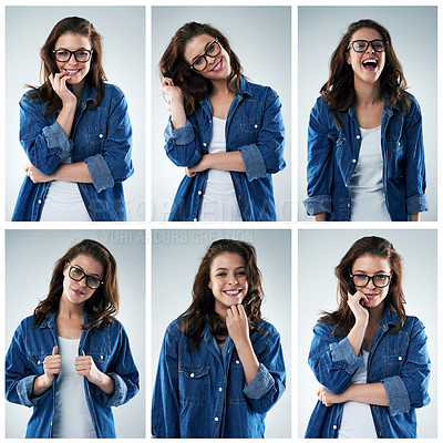 Buy stock photo Composite shot of a young woman in various studio poses against a grey background