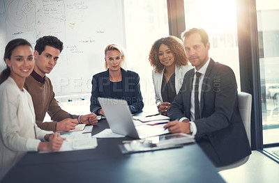 Buy stock photo Portrait of a group of corporate businesspeople meeting in the boardroom