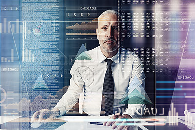 Buy stock photo Cropped shot of a mature businessman working on programming code