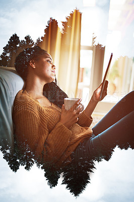 Buy stock photo Shot of a young woman using her tablet at home superimposed over a nature background