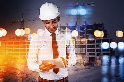 Buy stock photo Shot of a building contractor using his tablet superimposed over a build site