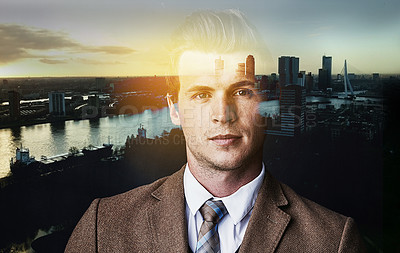 Buy stock photo Portrait of a confident young businessman superimposed over a cityscape