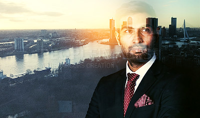 Buy stock photo Shot of a confident businessman superimposed over a cityscape