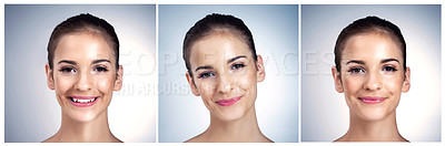 Buy stock photo Composite shot of a beautiful young model posing against a blue background