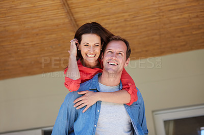 Buy stock photo Shot of a mature couple enjoying the day at home together