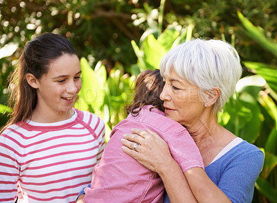Buy stock photo Shot of a mature woman with her grandchildren