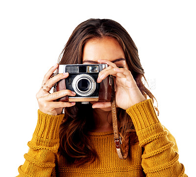 Buy stock photo Studio shot of a young woman holding up her camera