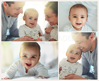 Buy stock photo Composite image of an adorable baby boy bonding with his father and father at home