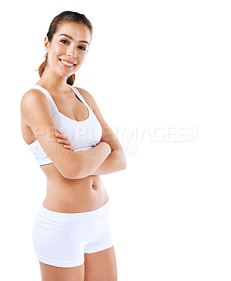 Buy stock photo Shot of a healthy woman posing against a white background