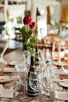 Buy stock photo Shot of a decorated table at a wedding reception