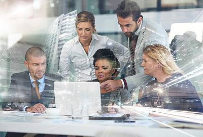 Buy stock photo Multiple exposure shot of a group of businesspeople working together on a laptop superimposed over a cityscape