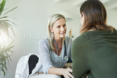 Buy stock photo Cropped shot of a medical practitioner reassuring a patient