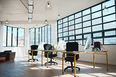 Buy stock photo Shot of a modern design office with no people in it