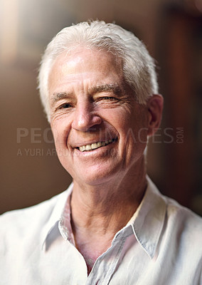 Buy stock photo Portrait of a happy senior man at home