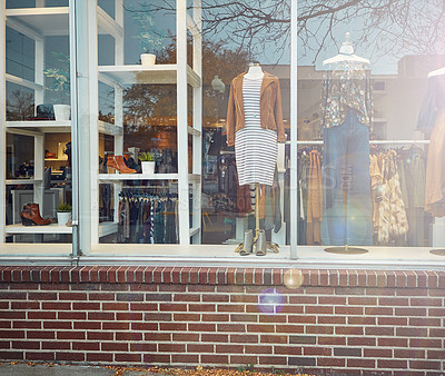 Buy stock photo Exterior shot of a clothing boutique