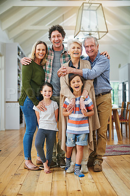Buy stock photo Three generations of family spending the day together at home