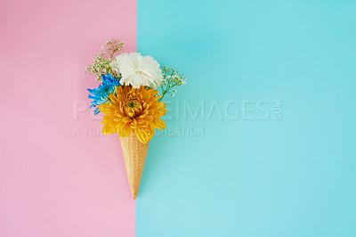 Buy stock photo Shot of a cone stuffed with flowers against a colorful background