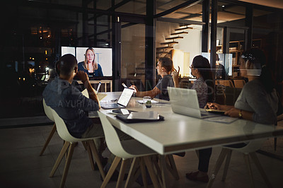 Buy stock photo Shot of creative employees having a video conference call meeting in the office