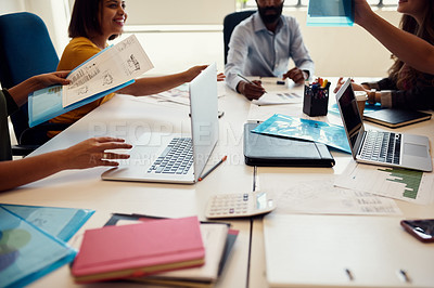 Buy stock photo Shot of unrecognizable creative employees having a meeting in a modern office