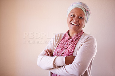 Buy stock photo Portrait of a mature muslim woman spending the dat at home