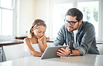 Dad will show her to navigate a digital device