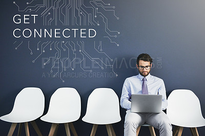 Buy stock photo Studio shot of a businessman using a laptop in line with the words get connected above him