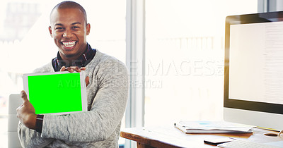 Buy stock photo Portrait of a young businessman holding a digital tablet with a chroma key screen