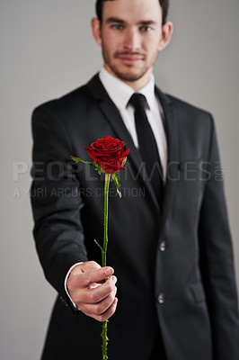 Buy stock photo Studio shot of a well-dressed man holding a red rose against a gray background