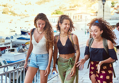 Buy stock photo Cropped shot of girlfriends on vacation