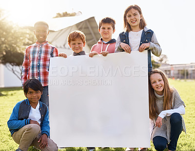 Buy stock photo Shot of young kids playing together outdoors