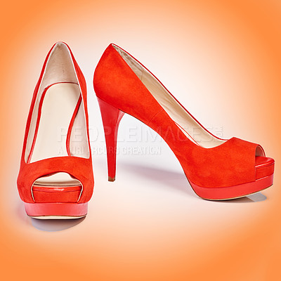 Buy stock photo Studio shoes of a pair of red high heels