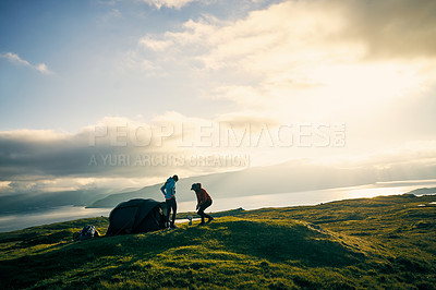 Buy stock photo Shot of people camping outdoors