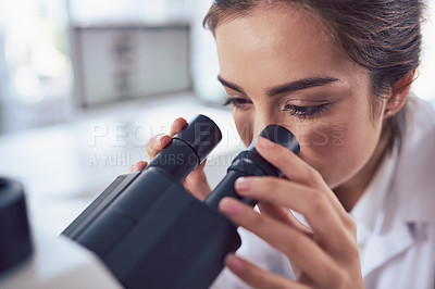 Buy stock photo Closeup of a focused young female scientist looking through the lens of a microscope inside of a laboratory