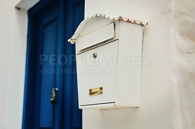 Buy stock photo Cropped shot of letterbox on a residential building