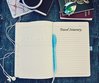 Buy stock photo High angle shot of a travel concept