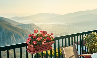 Buy stock photo Background shot of a beautiful  landscape from a balcony in the mediterranean during the day