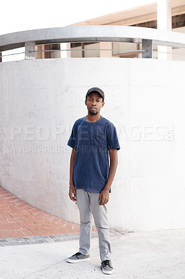 Buy stock photo Full length portrait of a handsome young man posing outside