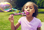 Having fun is blowing bubbles