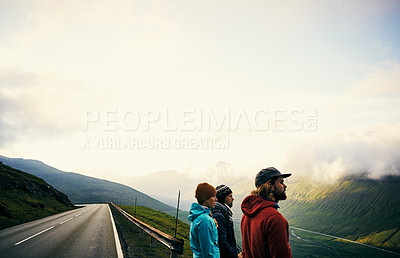 Buy stock photo Cropped shot of young people looking at the view outdoors