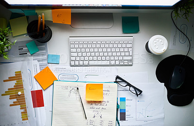 Buy stock photo High angle shot of a creative workstation with no people