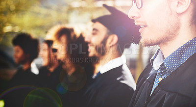 Buy stock photo Cropped shot of students graduating