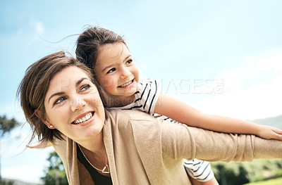 Buy stock photo Cropped shot of a mother spending quality time with her young daughter