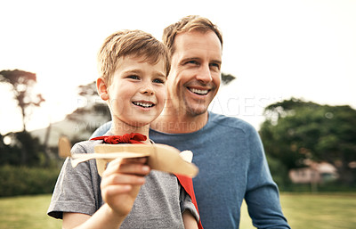 Buy stock photo Cropped shot of a father spending quality time with his son