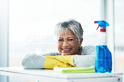 Buy stock photo Portrait of a mature woman doing her daily chores at home