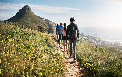 Buy stock photo Rearview shot of a group of people walking on a path through the mountains