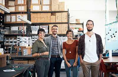 Buy stock photo Portrait of designers in the workshop